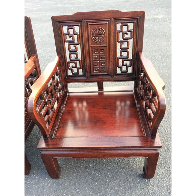 Antique Carved Chinese Chippendale Rosewood Chairs - a Pair For Sale -  Image 4 of 11 - Antique Carved Chinese Chippendale Rosewood Chairs - A Pair Chairish