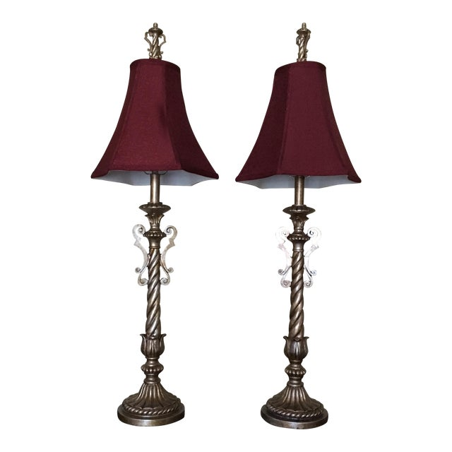 Tall Table Buffet Lamps Antiqued Finish- a Pair - Image 1 of 11