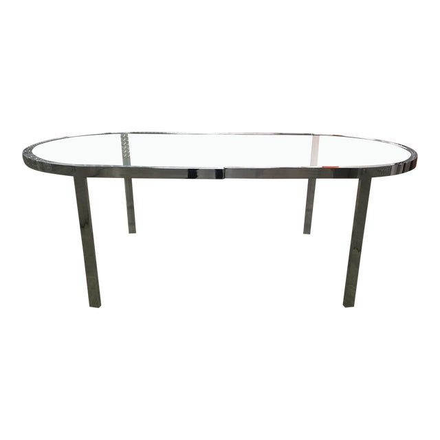 Vintage 70s Milo Baughman Chrome Racetrack Dining Table For Sale