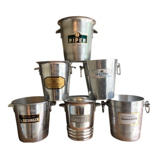 Collection of Vintage Graphic Champagne Buckets Wine Coolers -Set of 6 For Sale