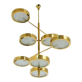 Brass Mid-Century Italian Style Chandelier For Sale