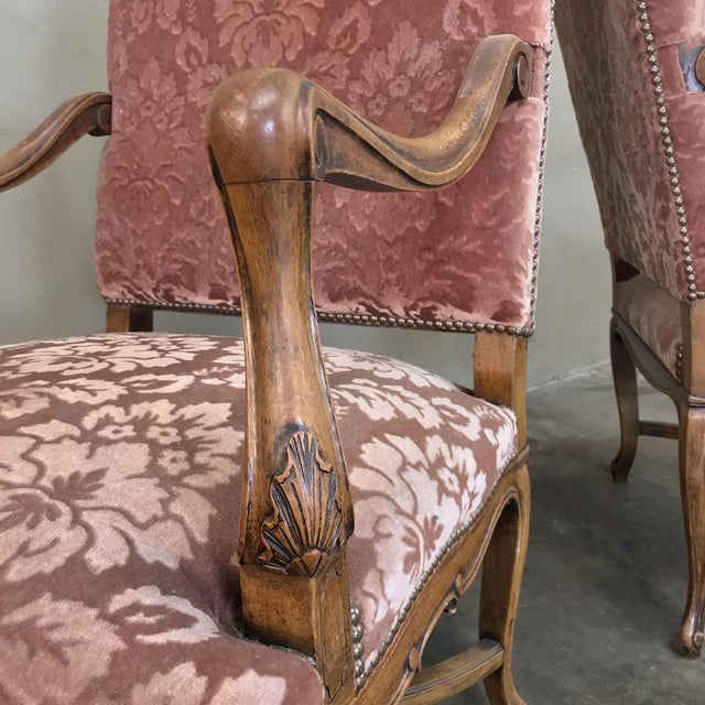 Pair Armchairs, 19th Century French Louis XV in Walnut For Sale - Image 10 of 13