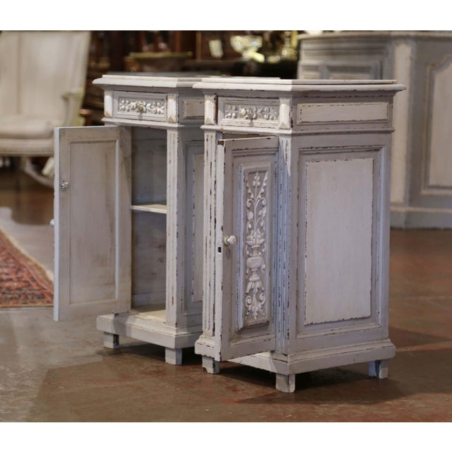 Wood Pair of 19th Century French Carved Painted Nightstands With Marble Top For Sale - Image 7 of 10
