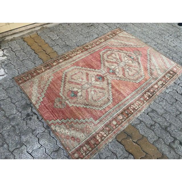 Art Deco Oushak Handmade Distressed Antique Floor Carpet For Sale - Image 3 of 11