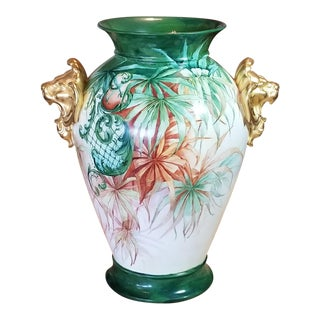 Limoges R. Delinieres & Co. Green and Gilt Lion Head Vase For Sale