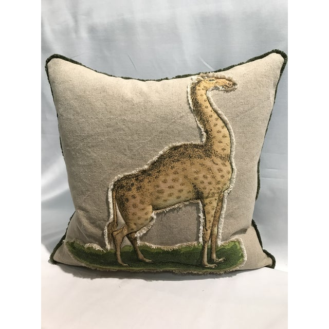 White Safari Giraffe Linen & Cotton Applique Quilted Zoo Animal Design Legacy Kelly O'Neal Decorative Pillow Childrens Room For Sale - Image 8 of 8