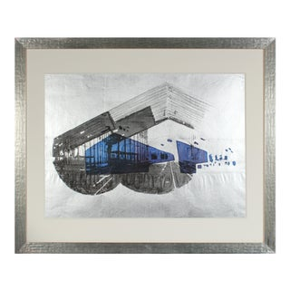 "1970's ""Libson Station"" Graphic Serigraph on Mettlic Paper For Sale"