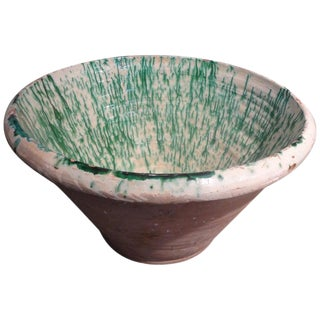 Large 19th Century French Glazed Terracotta Bowl For Sale