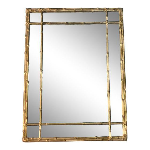 Vintage Faux Bamboo Gold Wall Mirror For Sale - Image 10 of 10