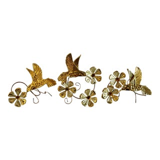 Mid-Century Gold Butterfly & Flower Wall Hangings - Set of 3 For Sale