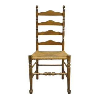 Ethan Allen Antiqued Pine Old Tavern Ladder Back Rush Seat Side Chair For Sale