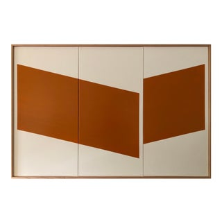 "Original Acrylic Painting ""Burnt Orange Disjointed Triptych Jet0624"" For Sale"