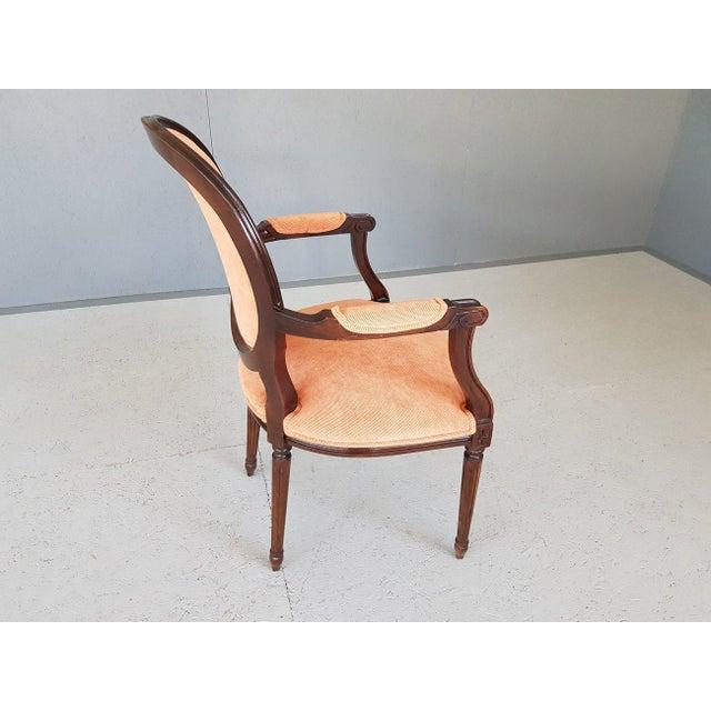 Mid 20th Century Louis XVI Velvet Upholstery Arm Chair For Sale - Image 5 of 13