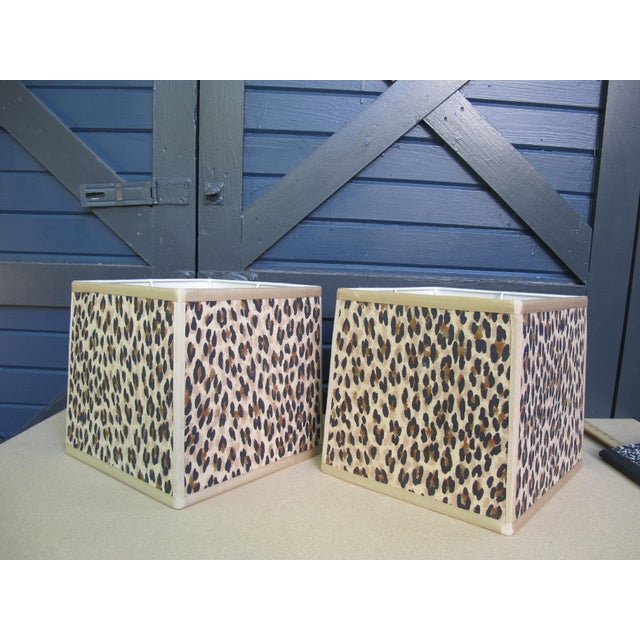 Custom Made Square Leopard Lampshades - A Pair For Sale - Image 4 of 4
