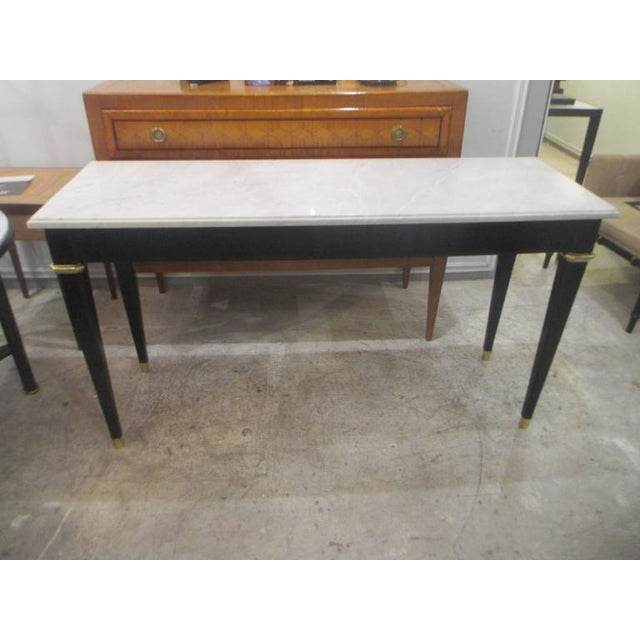 Modern Ebonized Console With Marble Top Attributed to Maison Jansen For Sale - Image 3 of 9