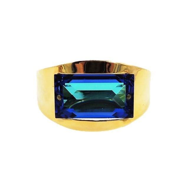 1970s Bijoux Cascio Italy Blue Rhinestone Cuff Bracelet For Sale - Image 9 of 9
