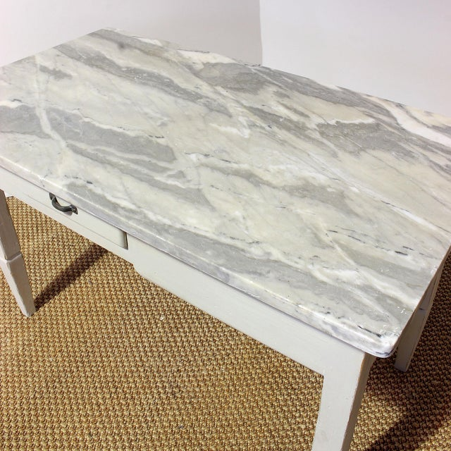 Vintage Italian Marble Top Kitchen Table For Sale - Image 9 of 10