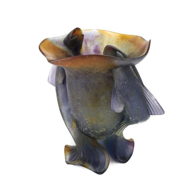 Daum France Art Glass Pate De Verre Vase, Twin Fishes, Signed - Image 3 of 5