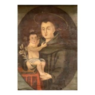 1850s 19th Century Retablo Folk Art Saint Antonio For Sale
