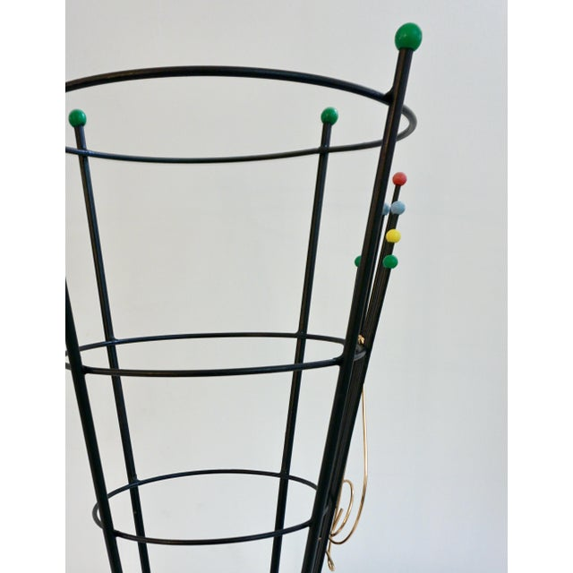 Stilnovo 1970s Vintage Black Lacquer Italian Umbrella Stand With Clef Motif For Sale In New York - Image 6 of 13