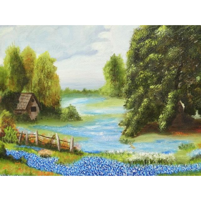 Countryside Bluebonnet Landscape Original Oil Painting For Sale - Image 9 of 13
