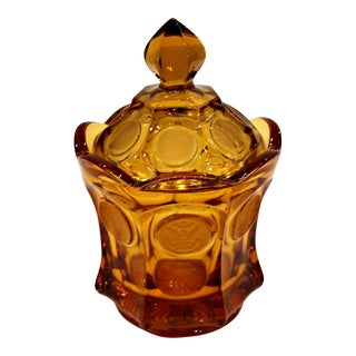 Vintage Fostoria Amber Glass Liberty Coin Candy Dish W/Lid For Sale