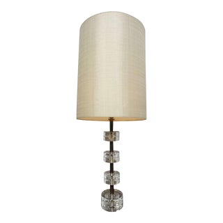 Crystal Glass Disk and Brass Table Lamp by Orrefors Carl Fagerlund, Sweden