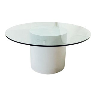 Modern White Laminated Dining Table with Round Glass Top For Sale