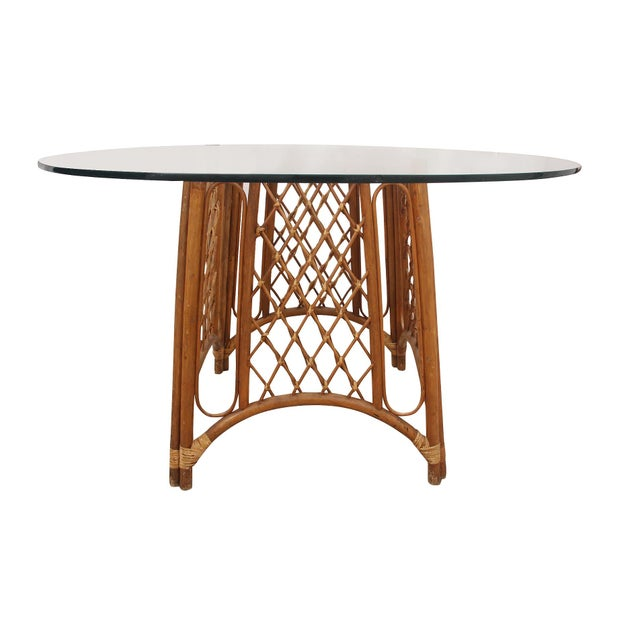 Traditional Bamboo and Glass Pedestal Table For Sale - Image 3 of 5