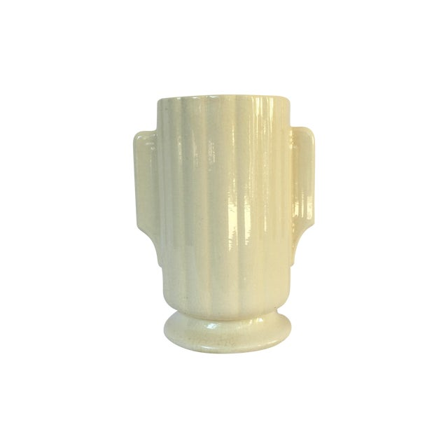 Art Deco Crackled Cream Ceramic Vase - Image 1 of 5