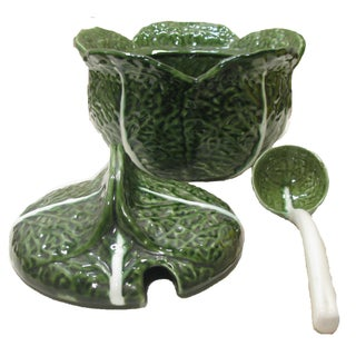 Majolica Cabbage Soup Tureen W/ Ladle Preview
