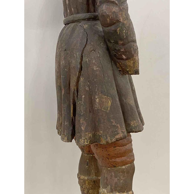 Wood Antique San Isidro 32 In. Wood Statue For Sale - Image 7 of 13