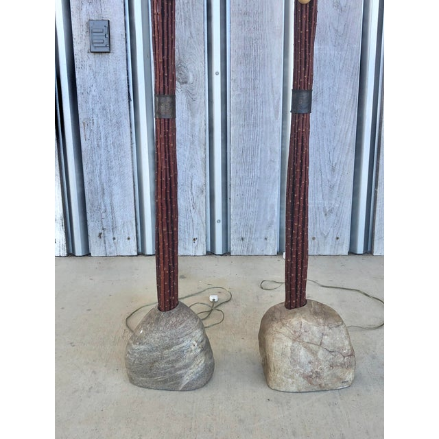 Modern Pair of Hand Made Wood and Stone Floor Lamps For Sale - Image 3 of 5