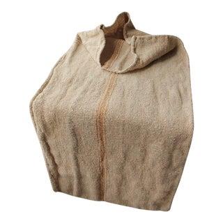 Rustic Primitive Organic Caramel Hemp Linen Grain Sack Textile For Sale