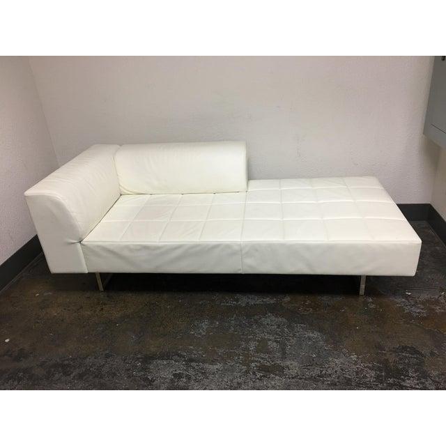 Poltrona Frau Quadra White Leather Chaise   Chairish
