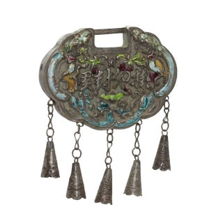 Chinese Metal Ancient Lucky Ping an Lock - Protective Talisman Pendant For Sale