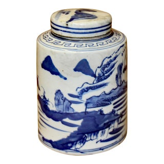 Chinese Blue White Ceramic Oriental Scenery Graphic Container Urn Jar For Sale