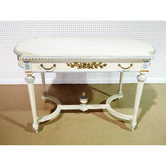 Blue Swedish Louis XVI Style Library Table For Sale - Image 8 of 11