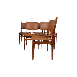Leather & Teak Floating Dining Chairs Made in Denmark For Sale