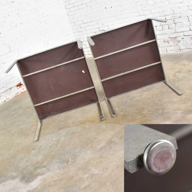 Pair Vintage Large Modern Square End Tables in Stainless Steel With Black Laminate Tops For Sale - Image 12 of 13