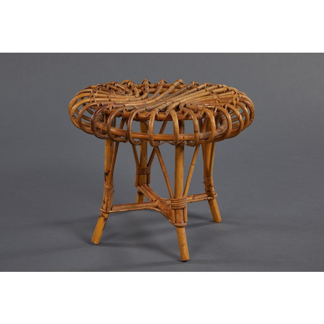 A Petite Pair of Sculptural Rattan Stools For Sale In Los Angeles - Image 6 of 10