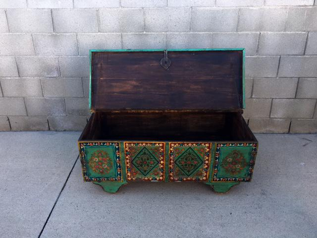 Superior Reclaimed Hand Painted Wood Trunk Coffee Table For Sale In Los Angeles    Image 6