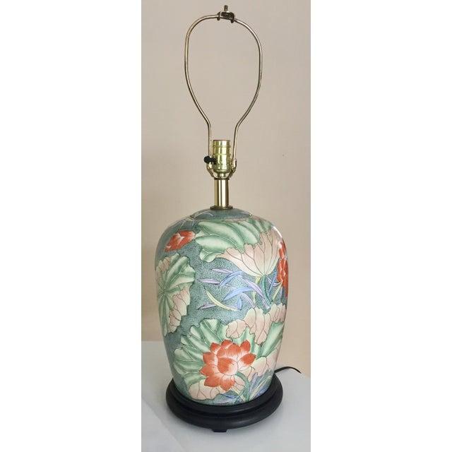 Floral Ginger Jar Lamp With Dark Wood Base - Image 2 of 10