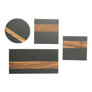 Harpswell House Mid-Century Modern Slate & Walnut Trivets, Cheese & Charcuterie Boards - Set of 4