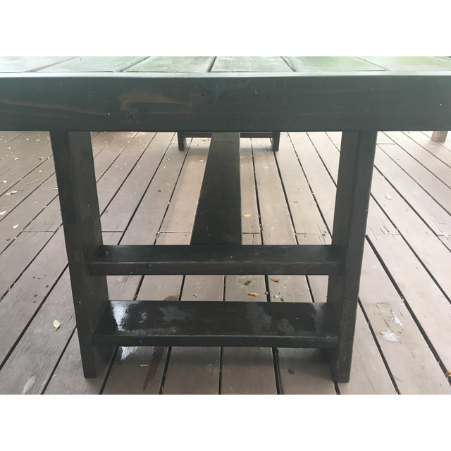 Contemporary Dark Thick Wood Outdoor Dining Table Custom Made in Miami For Sale - Image 3 of 5