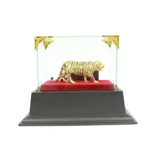 Gold Plexiglases With Glass Display Tiger Sculpture For Sale