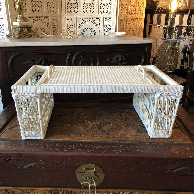 Vintage White Wicker Bed Tray For Sale - Image 12 of 12