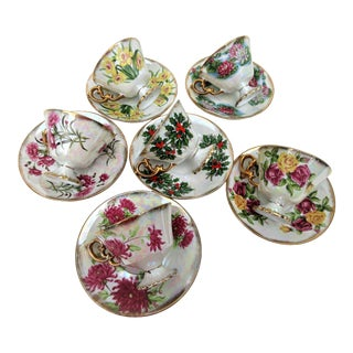 Vintage Japanese Norleans Lusterware Flower of the Month Cups and Saucers - Set of 6 For Sale
