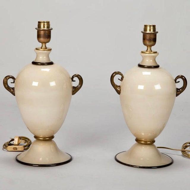 Pair of Mid Century Murano Amphora Art Glass Aventurine Table Lamps - Image 2 of 8