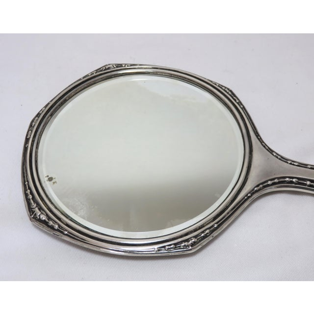 1900 - 1909 Fine Hand Engraved Antique Sterling Silver Ladies Vanity Mirror For Sale - Image 5 of 7